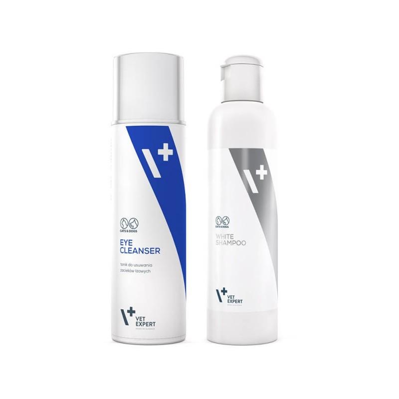 Biały pies - zestaw Eye Cleanser oraz White Shampoo