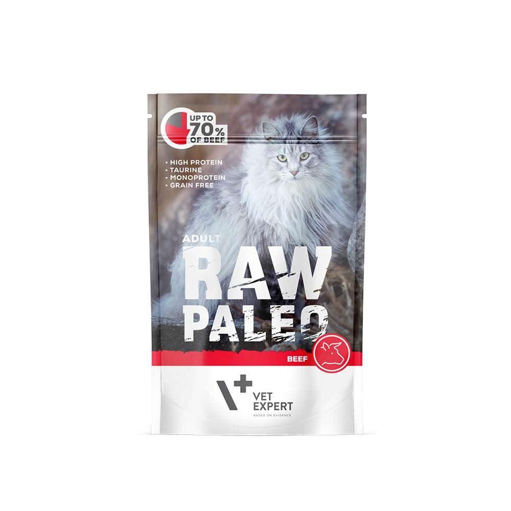 RAW PALEO ADULT CAT BEEF - mokra karma dla kotów dorosłych - wołowina (pakiet 12x100g)