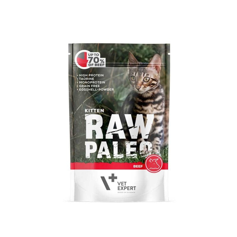 RAW PALEO karma mokra dla kociąt - wołowina (pakiet 12x 100g)
