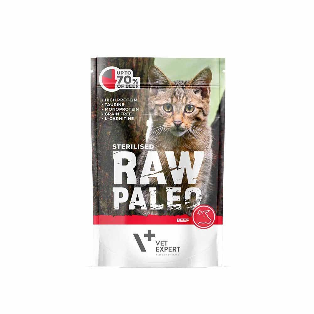 RAW PALEO STERILISED BEEF - mokra karma dla kotów sterylizowanych - wołowina (pakiet 12x100g)