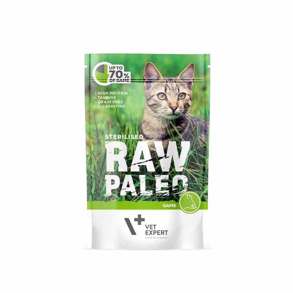 RAW PALEO STERILISED GAME - mokra karma dla kotów sterylizowanych - dziczyzna (pakiet 12x100g)