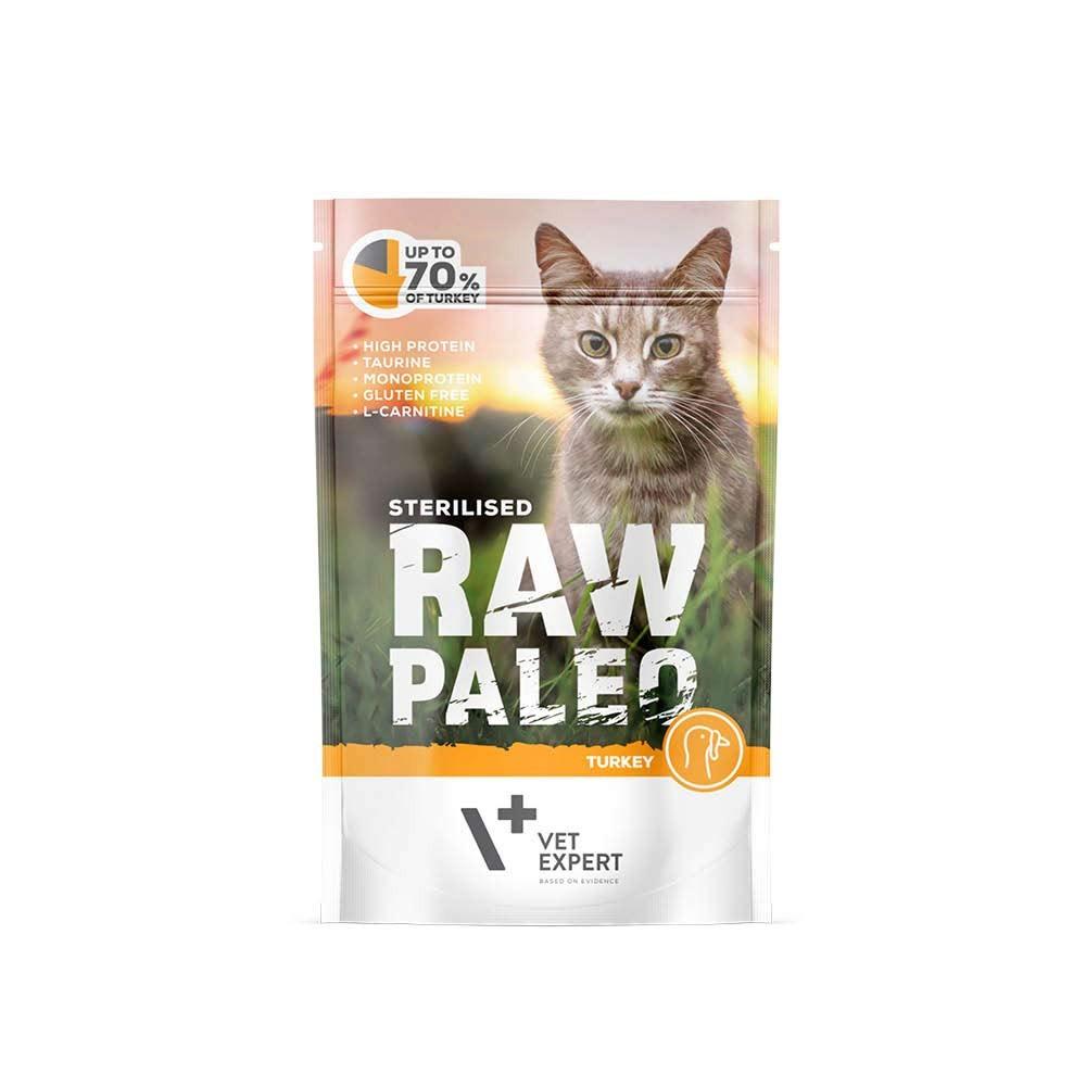 RAW PALEO STERILISED TURKEY - mokra karma dla kotów sterylizowanych - indyk (pakiet 12x100g)