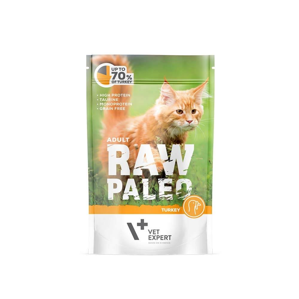 RAW PALEO ADULT CAT TURKEY - mokra karma dla kotów dorosłych - indyk (pakiet 12x100g)