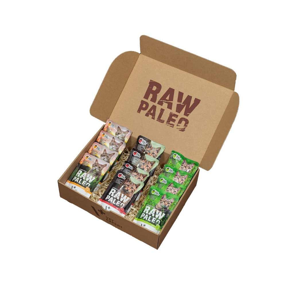 RAW PALEO STERILISED - mokra karma dla kotów sterylizowanych - mix smaków (pakiet 12x100g)