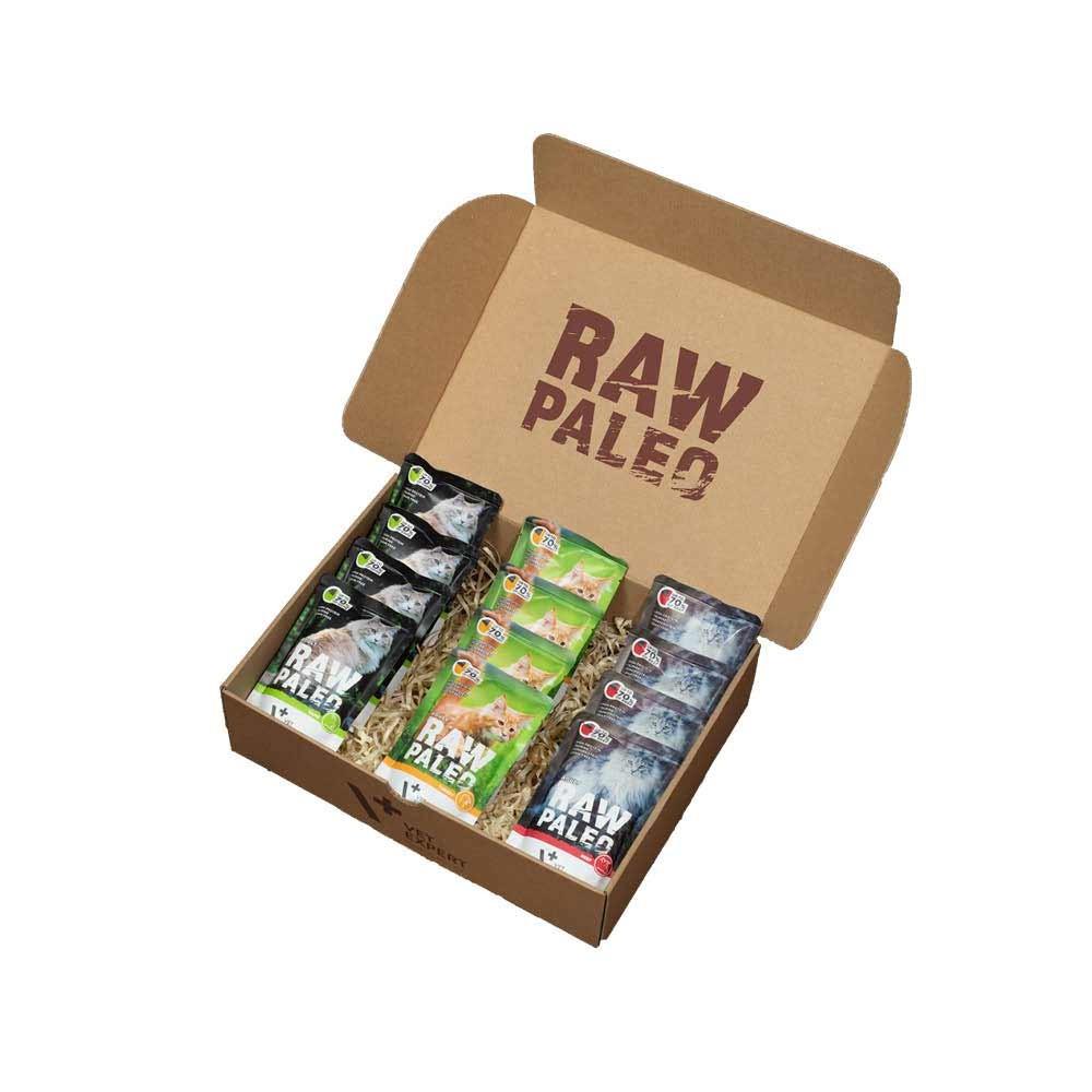 RAW PALEO ADULT CAT - mokra karma dla kotów dorosłych - mix smaków (pakiet 12x100g)