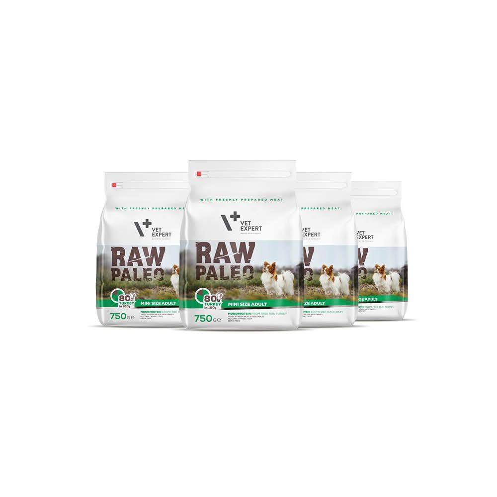 RAW PALEO ADULT MINI TURKEY - sucha karma z indykiem dla psów dorosłych ras małych - pakiet promocyjny 4x750g