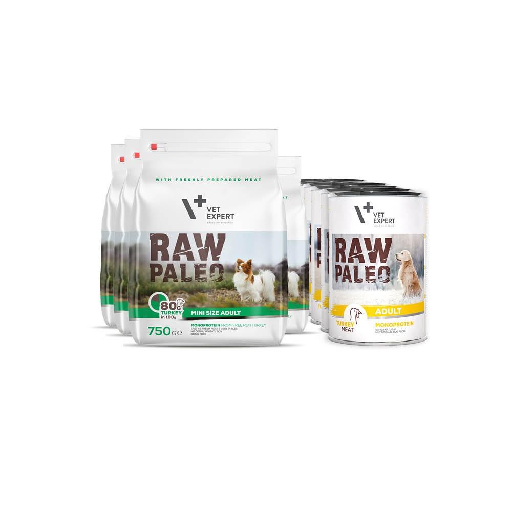 RAW PALEO ADULT MINI - zestaw sucha + mokra karma dla psów dorosłych ras małych - indyk (4x750g + 6x400g)