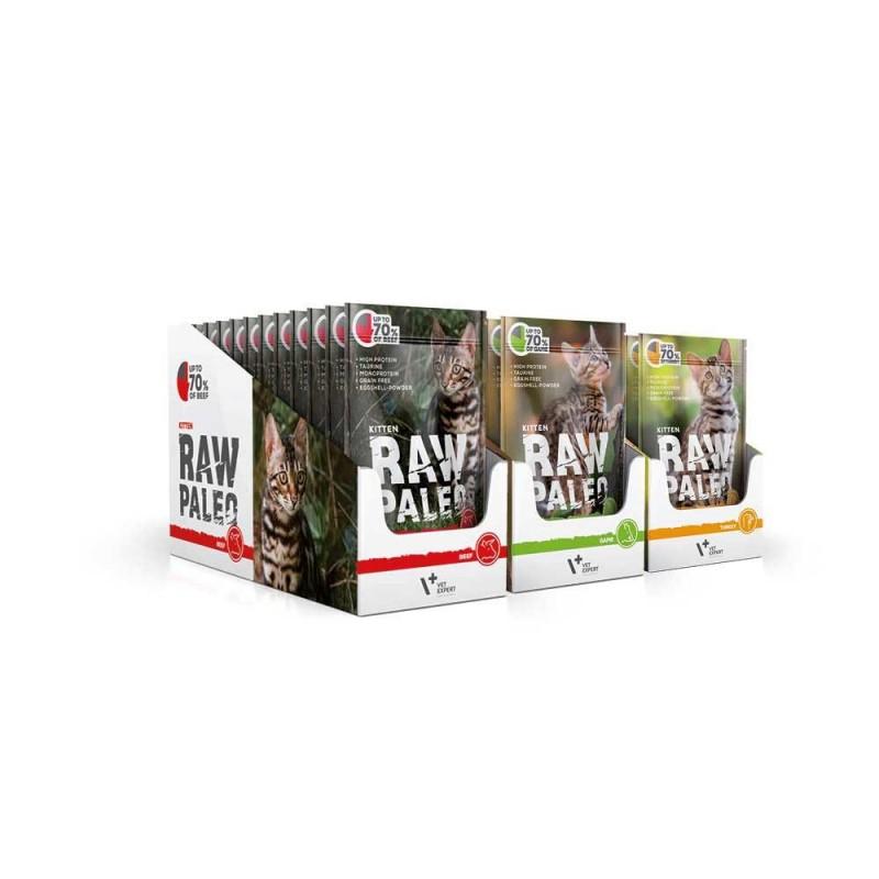 RAW PALEO karma mokra dla kociąt - mix smaków (MEGA pakiet 36x 100g)