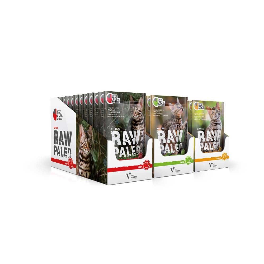 RAW PALEO KITTEN - mokra karma dla kociąt - mix smaków (MEGA pakiet 36x100g)