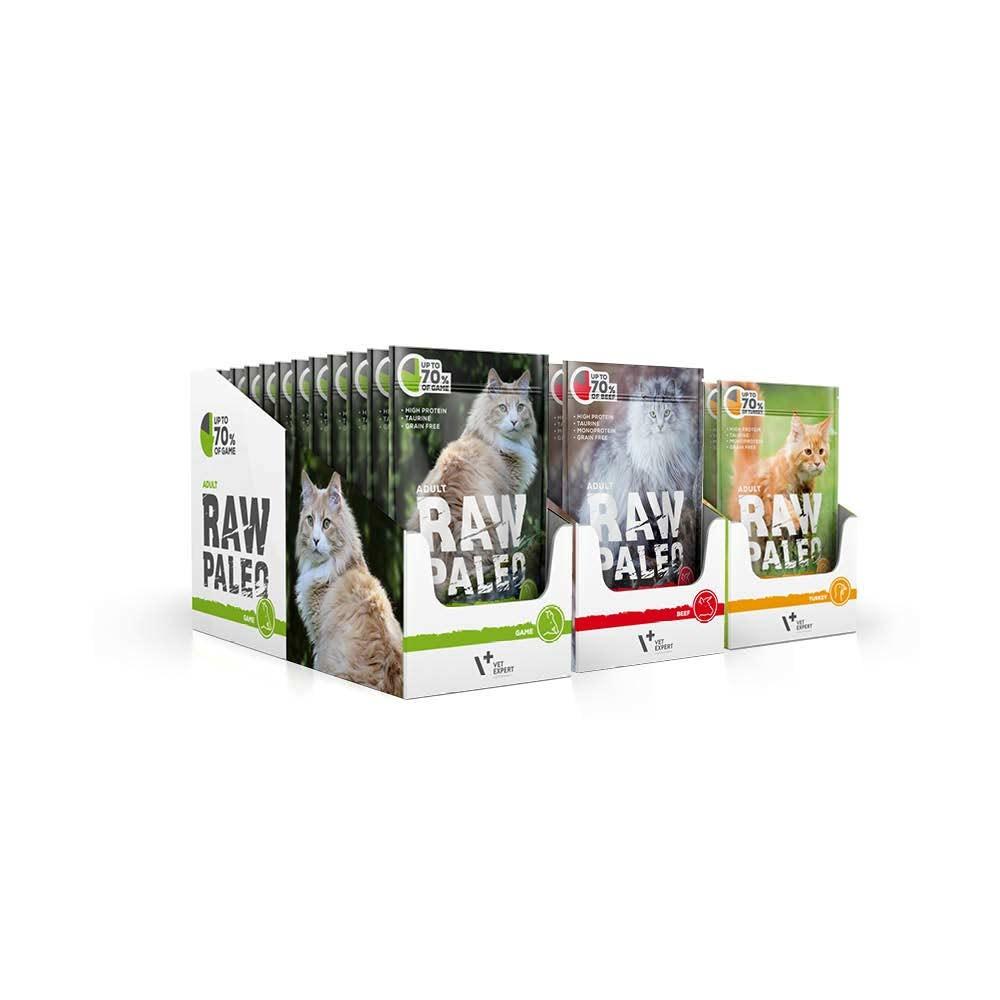 RAW PALEO ADULT CAT - mokra karma dla kotów dorosłych - mix smaków (MEGA pakiet 36x100g)