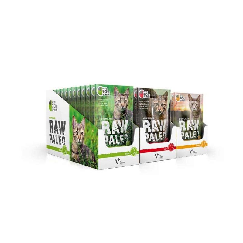 RAW PALEO Sterilised karma mokra dla kotów - mix smaków (MEGA pakiet 36x 100g)