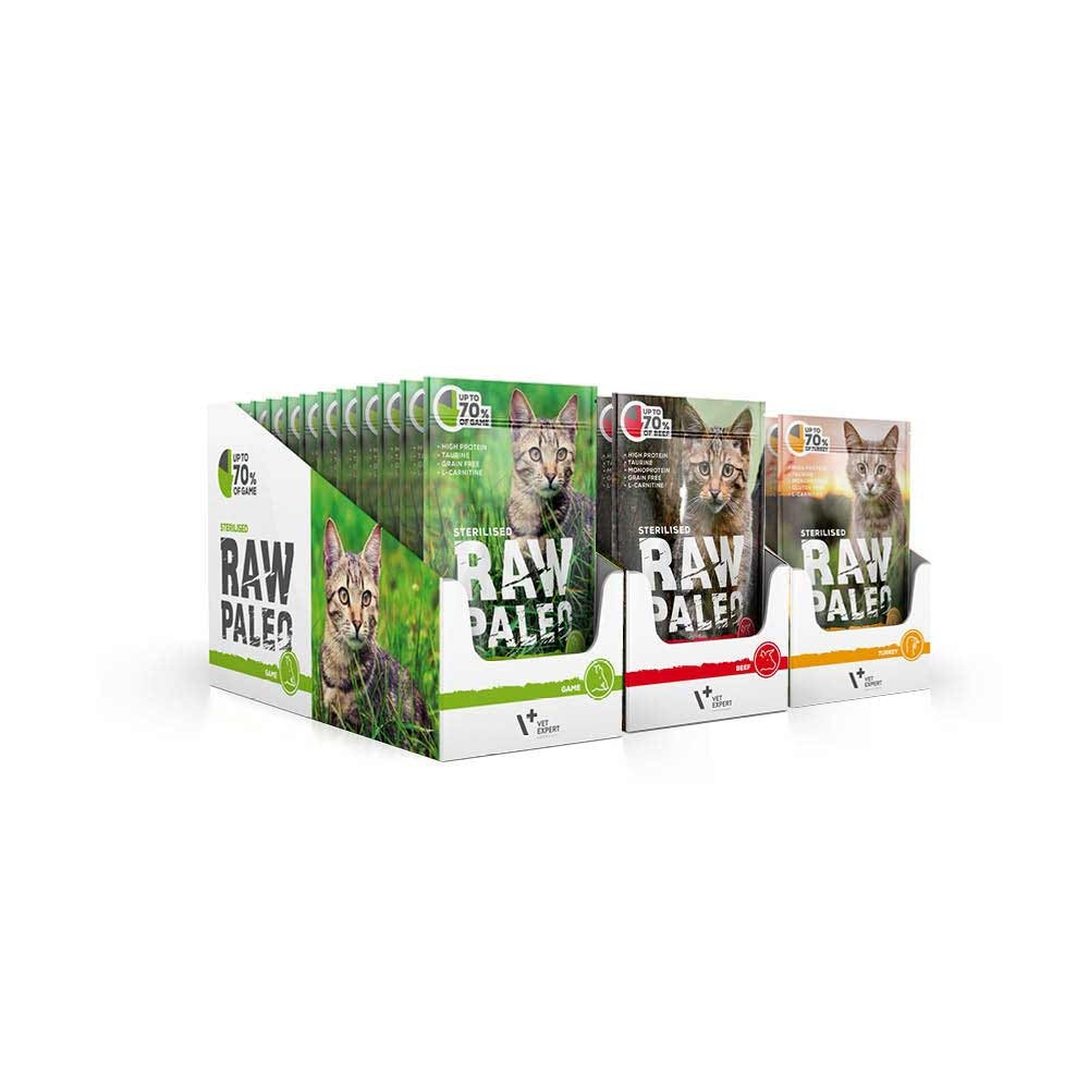 RAW PALEO STERILISED - mokra karma dla kotów sterylizowanych - mix smaków (MEGA pakiet 36x100g)