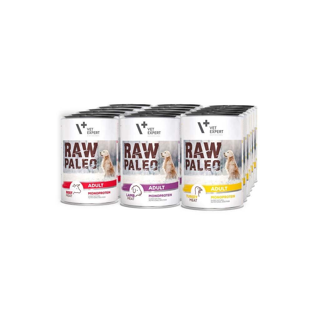 RAW PALEO ADULT DOG - mokra karma dla psów dorosłych - mix smaków (Mega pakiet 18 puszek)