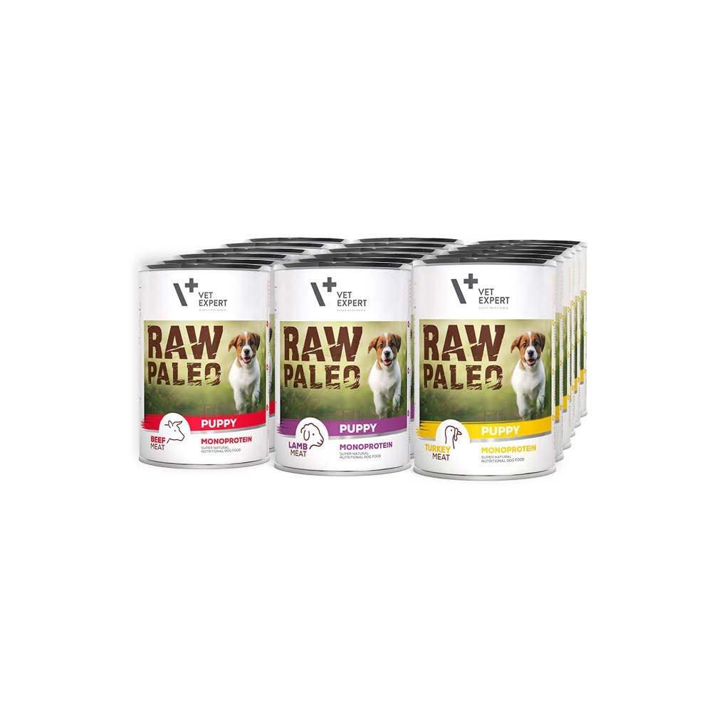 RAW PALEO PUPPY - mokra karma dla szczeniąt - mix smaków (Mega pakiet 18 puszek)