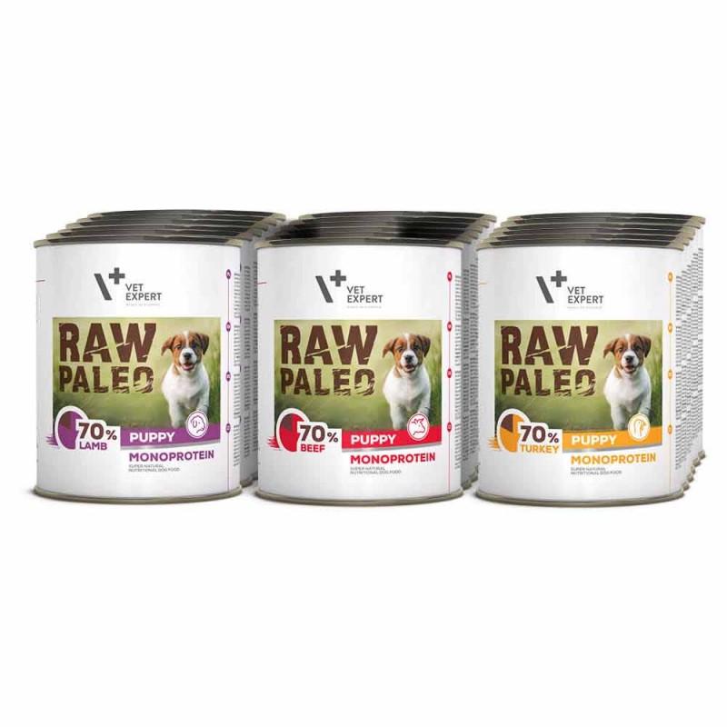 RAW PALEO PUPPY - mokra karma dla szczeniąt - mix smaków (Mega pakiet 18x800g)