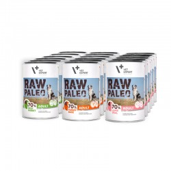RAW PALEO ADULT DOG duet- mokra karma dla psów dorosłych - mix smaków (Mega pakiet 18 puszek)