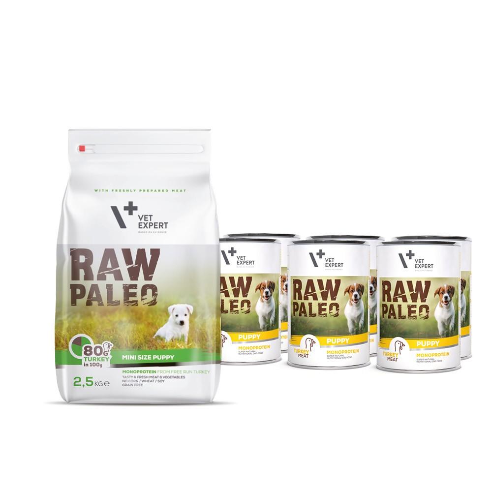 RAW PALEO PUPPY MINI TURKEY- zestaw sucha + mokra karma zindykiem dla szczeniąt ras małych - indyk (2,5 kg + 6x400g)