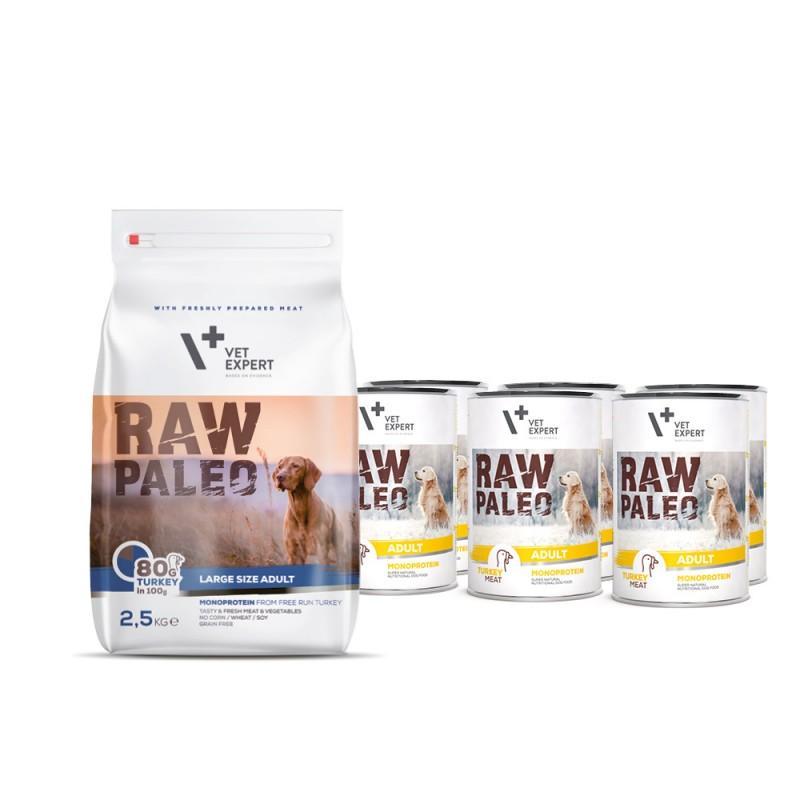 RAW PALEO ADULT LARGE TURKEY- zestaw sucha + mokra karma z indykiem dla psów dorosłych ras dużych- indyk (2,5kg + 6x400g)